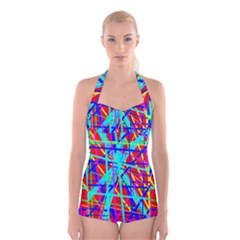 Colorful pattern Boyleg Halter Swimsuit