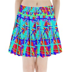 Colorful Pattern Pleated Mini Mesh Skirt
