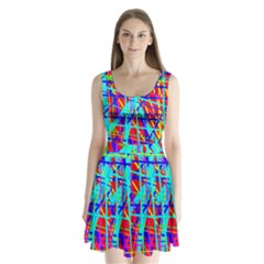 Colorful pattern Split Back Mini Dress