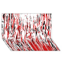 Red, black and white pattern PARTY 3D Greeting Card (8x4)
