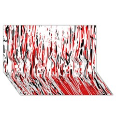 Red, black and white pattern ENGAGED 3D Greeting Card (8x4)