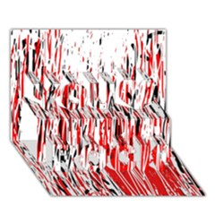 Red, black and white pattern You Rock 3D Greeting Card (7x5)