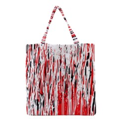 Red, black and white pattern Grocery Tote Bag