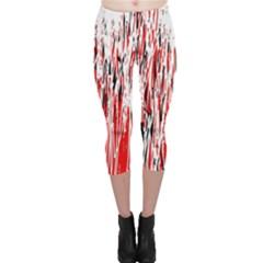 Red, black and white pattern Capri Leggings