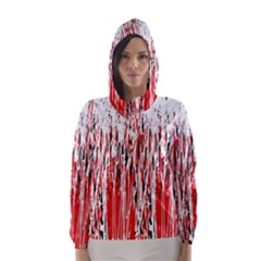Red, black and white pattern Hooded Wind Breaker (Women)