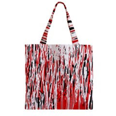 Red, black and white pattern Zipper Grocery Tote Bag