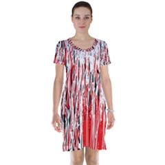 Red, black and white pattern Short Sleeve Nightdress