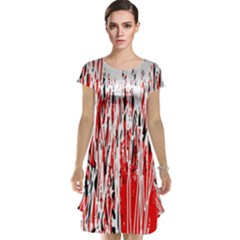 Red, black and white pattern Cap Sleeve Nightdress