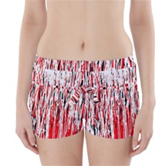 Red, black and white pattern Boyleg Bikini Wrap Bottoms