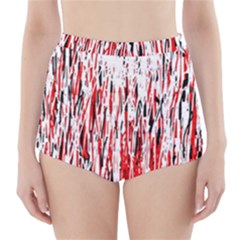 Red, Black And White Pattern High Waisted Bikini Bottoms