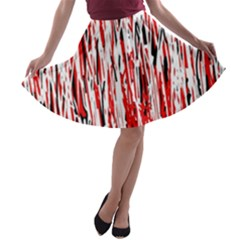 Red, black and white pattern A-line Skater Skirt