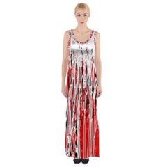 Red, black and white pattern Maxi Thigh Split Dress