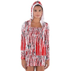 Red, Black And White Pattern Women s Long Sleeve Hooded T Shirt