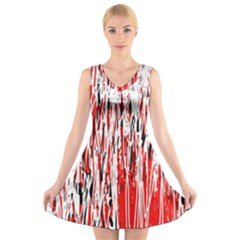 Red, Black And White Pattern V Neck Sleeveless Skater Dress