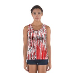 Red, black and white pattern Women s Sport Tank Top