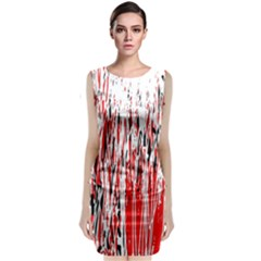 Red, black and white pattern Classic Sleeveless Midi Dress