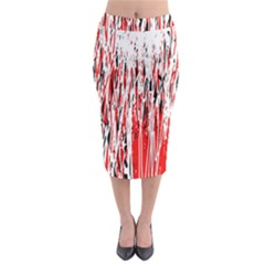 Red, black and white pattern Midi Pencil Skirt