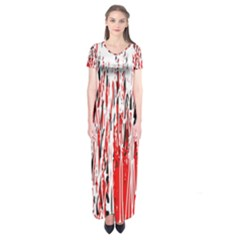 Red, Black And White Pattern Short Sleeve Maxi Dress