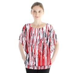 Red, Black And White Pattern Batwing Chiffon Blouse