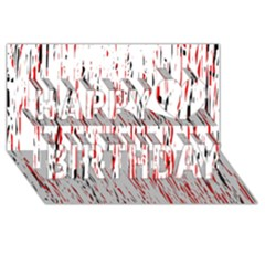 Red, black and white pattern Happy Birthday 3D Greeting Card (8x4)