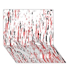 Red, black and white pattern LOVE Bottom 3D Greeting Card (7x5)