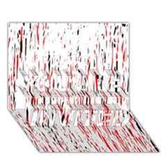 Red, black and white pattern YOU ARE INVITED 3D Greeting Card (7x5)