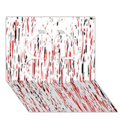 Red, Black And White Pattern Clover 3d Greeting Card (7x5)