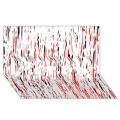 Red, black and white pattern BEST SIS 3D Greeting Card (8x4)