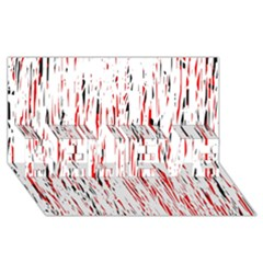Red, black and white pattern BELIEVE 3D Greeting Card (8x4)