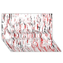 Red, black and white pattern Best Wish 3D Greeting Card (8x4)