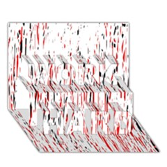 Red, black and white pattern WORK HARD 3D Greeting Card (7x5)