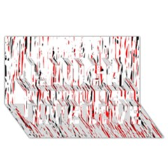 Red, black and white pattern Laugh Live Love 3D Greeting Card (8x4)