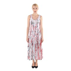 Red, black and white pattern Sleeveless Maxi Dress