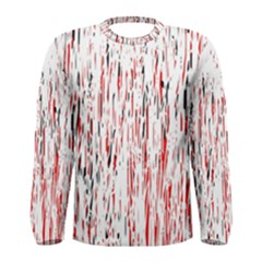 Red, black and white pattern Men s Long Sleeve Tee