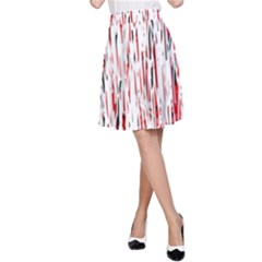 Red, black and white pattern A-Line Skirt