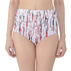 Red, black and white pattern High-Waist Bikini Bottoms