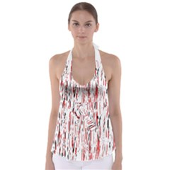 Red, black and white pattern Babydoll Tankini Top