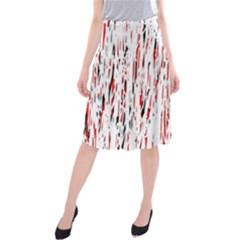 Red, Black And White Pattern Midi Beach Skirt