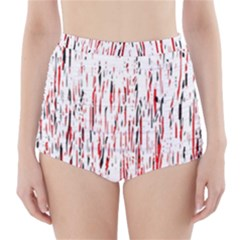 Red, black and white pattern High-Waisted Bikini Bottoms