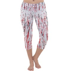 Red, Black And White Pattern Capri Yoga Leggings
