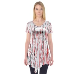 Red, Black And White Pattern Short Sleeve Tunic