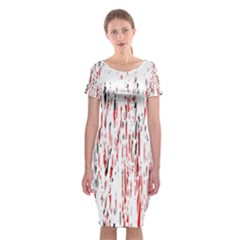 Red, black and white pattern Classic Short Sleeve Midi Dress