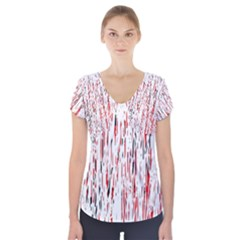 Red, black and white pattern Short Sleeve Front Detail Top