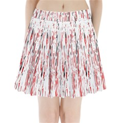 Red, black and white pattern Pleated Mini Mesh Skirt