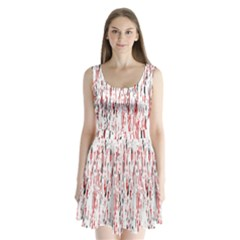 Red, black and white pattern Split Back Mini Dress