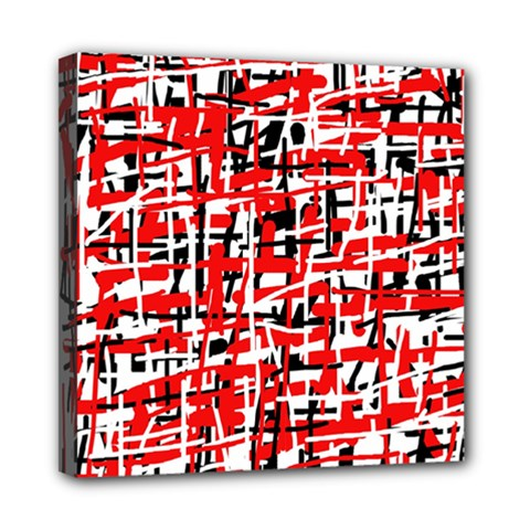 Red, white and black pattern Mini Canvas 8  x 8