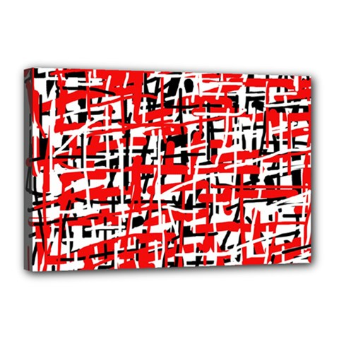 Red, white and black pattern Canvas 18  x 12
