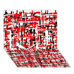 Red, white and black pattern I Love You 3D Greeting Card (7x5)