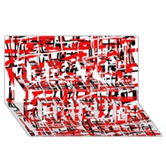Red, white and black pattern Best Friends 3D Greeting Card (8x4)