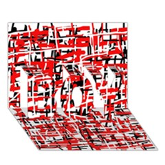 Red, white and black pattern BOY 3D Greeting Card (7x5)